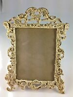 VINTAGE IVORY COLOR AND GOLD BRASS PICTURE/PHOTO FRAME
