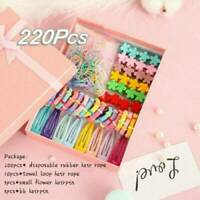 220Pc/set Cute Candy Color Girls Hair Clip Rope Ponytail Hair Holder Accessories