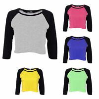 LADIES WOMENS PLAIN CONTRAST 3/4 LONG SLEEVE STRETCHY JERSEY CROP TOP 8 10 12 14