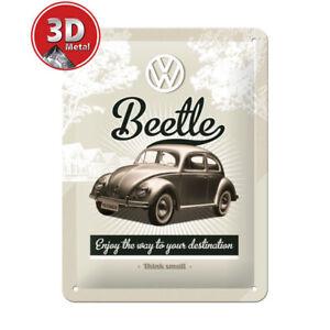 26129 Placa metálica 15x20 volkswagen beetle nostalgic art coolvintage