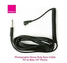 """Bowens Universal Sync Cord-PC to Male 1/4""""/for Monolights (13')/Made in Germany"""