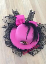 Handmade pink steampunk/gothic Top Hat clip tulle lace feathers clockwork gear