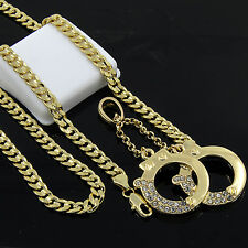 "14k Gold Plated Hip-Hop Iced Cz Handcuffs Pendant 24"" Cuban Chain Necklace D542"