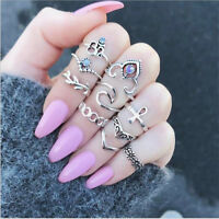 10pcs/set Boho Vintage Stone Hollow Flower Ring Set Finger Knuckle Rings Jewelry
