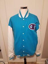 Champion 3XL Mens Big C Letterman Varsity Jacket Teal White Purple Free Shipping