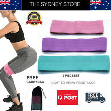 AUS STOCK 3PC SET RESISTANCE HIP BANDS BOOTY LEGS SQUAT TONING GLUTE FITNESS