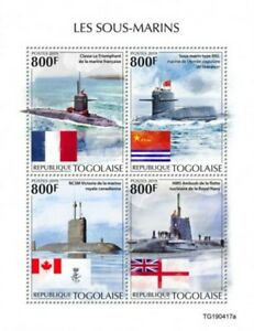Togo - 2019 Military Submarines & Flags - 4 Stamp Sheet - TG190417a