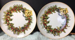 "Pair of Pottery Barn Christmas Wreath ""JOY"" Luncheon Plates Gold Trim Holidays"