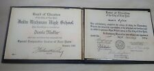 Vintage 1936 Elementary High School Diploma City Of New York 1940 Julia Richman