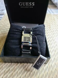 Guess Watch Collection Woman's Silver Link Square Black Face Vintage
