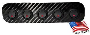 Carbon Fiber 5 Rocker Switch Panel w/ Red Indicator Lights