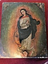 18TH CENTURY MEXICAN OIL PAINTING  OF THE VIRGIN OF THE APOCALYPSE