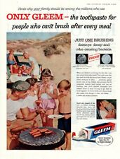 Vintage advertising print ad toothpaste GLEEM Family Beach Fun Hot Dogs 1957 ad
