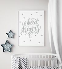 Sweet Dreams Baby Grey Unisex Nursery Print Kids Bed Room Wall Art Picture Gift