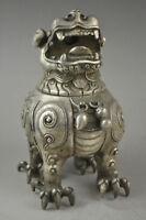 Exquisite vintage china old tibet silver carve dragon lid noble incense burner