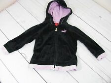 """Puma"" Girls Black Velour Zip Up Sweatshirt with Hood Size 24 Months - A978"