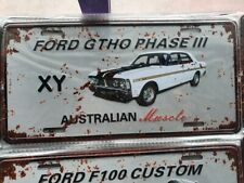 XY FORD GTHO PHASE III Number Plate Style 3D Tin Metal Sign NEW Man Cave Garage