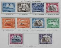 Aden 1951 KGVI surcharge set 5c to 10/- (Excl 5/-) SG36-46 Mounted Mint