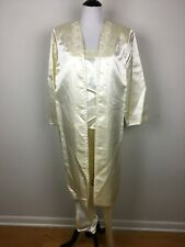 Womens Ivory Satin Beaded Evening Suit Custom Hand Made Formal Pants Coat Large