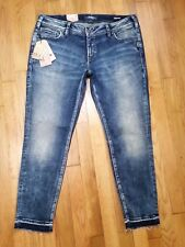 Silver Aiko Mid Ankle Skinny Jeans Size 34 L 27 Mid Rise Lycra Denimotion NWT
