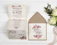 Rustic Wedding invitation - Ivory Rose Double-Folded (Portrait)