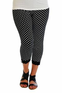 New Womens Leggings Plus Size Ladies Polka Dot Lace Trim Cuff Trousers Nouvelle