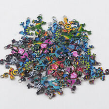 Wholesale 10Pcs Mixed Color Gecko Connectors Charms DIY Jewelry Making Findings