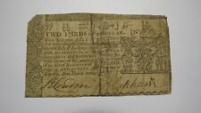 1770 $2/3 Annapolis Maryland MD Colonial Currency Bank Note Bill! Rare Issue USA