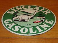 "VINTAGE 1937 ""SINCLAIR DINOSAUR GAS"" 11 3/4"" PORCELAIN METAL GASOLINE & OIL SIGN"