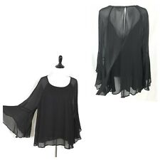 H&M Plus Size Top Flare Sleeve Black Sheer Overlay Blouse Women Size 22