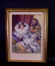 Richard Geiger (1870 Wien - 1945 Budap.) Jugendstilgemälde - Pierrot & Colombine
