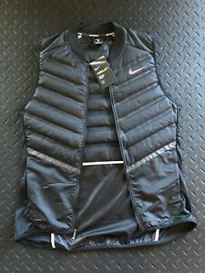 Nike Running Aeroloft Down Fill Vest Black Men's MEDIUM 3M $180 NWT 800497-010 !