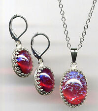 DRAGONS BREATH Red Mexican FIRE OPAL Necklace Earrings Set *925 STERLING SILVER