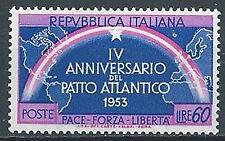 1953 ITALIA PATTO ATLANTICO 60 LIRE VARIETà MNH ** - JU046-2