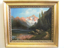 """""""Mountain Landscape"""" old oil on canvas,antique painting by Carl Saabye, Danish"""