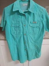 Columbia Womens PFG  teal  Vented Fishing Shirt Sz medium