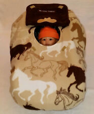 Infant Car Seat Cover Brown Horses Baby White Fleece Cozy Embroidery Cowboy Hat