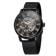 Fashion Luxury Men Date Stainless Steel Skeleton Mechanical Sport Wrist Watch