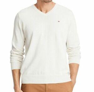 Tommy Hilfiger Mens Sweater Light Beige Size Medium M Solid V-Neck $59- 233