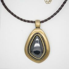 chico's signed jewelry two tone antique large pendant leather chain necklace