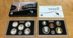 2017 S SILVER Proof Set US Mint 10 Coin Set  W/BOX & COA - Ultra Deep Cameo Set