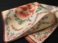#6736🌟Vintage 40s Floral Geometric CINNAMON & Pink Blue VIOLETS Handkerchief