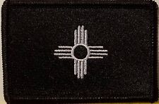 NEW MEXICO Flag Iron-On Patch Tactical Morale B & W Emblem Black Border