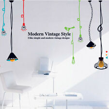 Vintage Lamp Bulb Bird Words Removable Vinyl Decal Wall Sticker Mural Room Decor