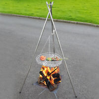 Telescopic Outdoor BBQ Tripod Hanging Chain Folding Mesh Fire Pit Bonfire Stand