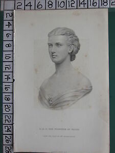 c1830 ANTIQUE PRINT ~ H.R.H THE PRINCESS OF WALES BUST