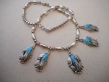 Signed Southwest Sterling Silver Bead Turquoise Charm Necklace   292916