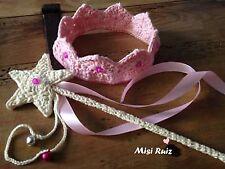 Corona Bebe Varita Mágica Conjunto Crochet Cumpleaños 0/3 Meses Artesanal Nuevo