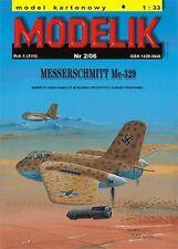 Messerschmitt Me-329 German prototype fighter 1:33 paper model Modelik 2/06