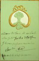 Art Nouveau 1904 Heavily-Embossed Postcard: Woman & Gold
